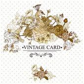 Carta d'epoca floreale con pavone — Vettoriale Stock
