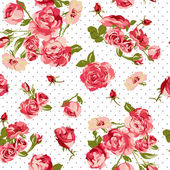 Beautiful Seamless Vintage Background with Roses — Stock Vector