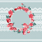 Vintage floral lace background with roses — Stockvector
