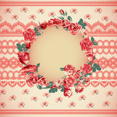 Vintage floral lace background with roses — Stock Vector