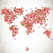 Flower World Map Eco Abstract background — Stok Vektör