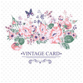 Vintage Floral Card with Butterflies. — Stock Vector