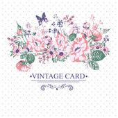 Wzór kwiatowy karty z motylami. — Wektor stockowy