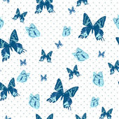 Vintage seamless background with butterflies — Vector de stock