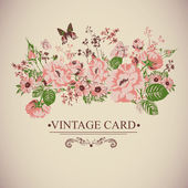 Vintage Floral Card with Butterflies. — Vector de stock
