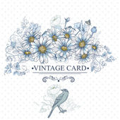Vintage Floral Card with Birds and Daisies — Stock Vector