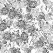 Vintage seamless monochrome roses pattern — Stock Vector