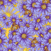 Seamless floral pattern with daisies — 图库矢量图片