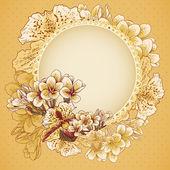 結婚式の招待状の花を持つ — ストックベクタ