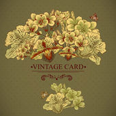 Vintage Floral Card with Exotic Flowers. — Stock Vector