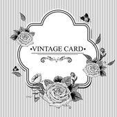 バラと蝶ビンテージ花カード. — ストックベクタ