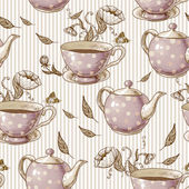 Seamless background with cups and pots — 图库矢量图片