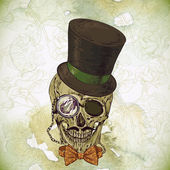 Hipster skull vintage background — Stock Vector
