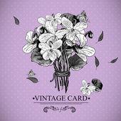 Vintage carta floreale monocromatico con violette — Vettoriale Stock