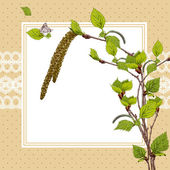 Vintage Card with Birch Twigs — Stock Vector