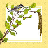Vintage background with birch branches and tit — Stock Vector