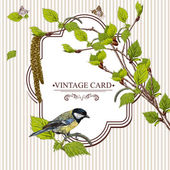Vintage Card with Birch Twigs and Bird Tit — Stock Vector