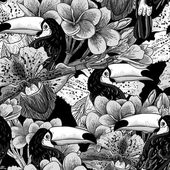 Tropical seamless parrern with flowers and Toucan — ストックベクタ