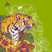 Tropical Exotic Floral Background with Tiger — Stock Vector