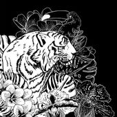 Tropical Exotic Floral Background with Tiger — Vecteur