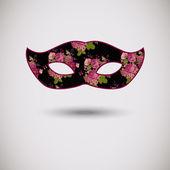 Carnival mask med blommönster — Stockvektor