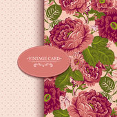 Elegance Vintage Floral Card with Roses — Stock Vector