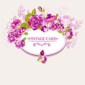 Vintage Floral Card with Roses — Stock Vector