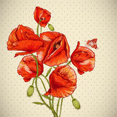 Bunch of Beautiful Red Poppy vector illustration — Stock Vector