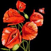 Grono piękny czerwony mak wektorowej — Wektor stockowy