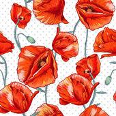 Sans soudure fond floral avec coquelicot rouge — Vecteur