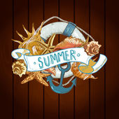 Summer Card with Sea Shells, Anchor, Lifeline — 图库矢量图片
