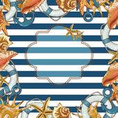 Summer Card with Sea Shells, Anchor, Lifeline — Stock Vector