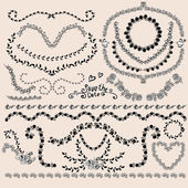 Floral Monochrome Design Laurels, Wreaths, Frame — Stock Vector