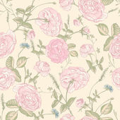 Beautiful Vintage Seamless Roses Background — Stock Vector