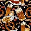 Seamless background with beer glasses, pretzel — Stock Vector #49211943
