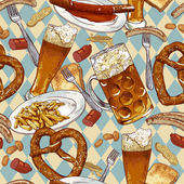 Seamless background with beer glasses, pretzel — Stock Vector