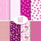 Set of eight seamless floral backgrounds — Vettoriale Stock