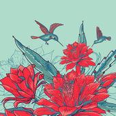 винтажная открытка с красными цветами и колибри. — Cтоковый вектор