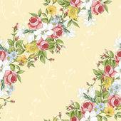 ビンテージの野生の花とのシームレスなパターン — ストックベクタ