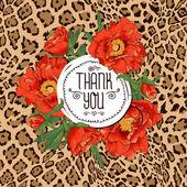 çiçek açan çiçekler ile vintage tebrik kartı. — Stok Vektör