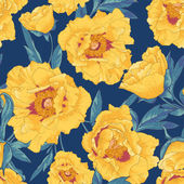 Tropical seamless pattern with yellow flowers — Stock Vector