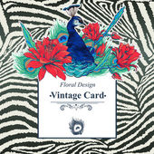 Floral Vector Vintage Card with Peacock — Vettoriale Stock
