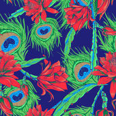 Seamless pattern with flowers and feathers — 图库矢量图片