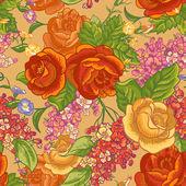 Sömlös bakgrund med buketter av blommor. — Stockvektor