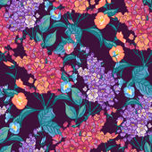 Seamless background with bouquets of wildflowers. — Stockvektor