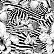 Monochrome seamless vintage flower pattern — Stock Vector