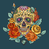 Skull and Flowers Day of The Dead — Stock Vector