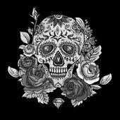 Monochrome Skull, diamond and Flowers Card — Stock Vector