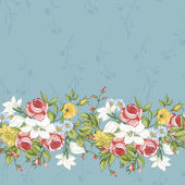 Seamless Pattern with Vintage Wildflowers — Stock Vector