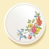 Barok bukiet kwiaty na białym talerzu — Wektor stockowy